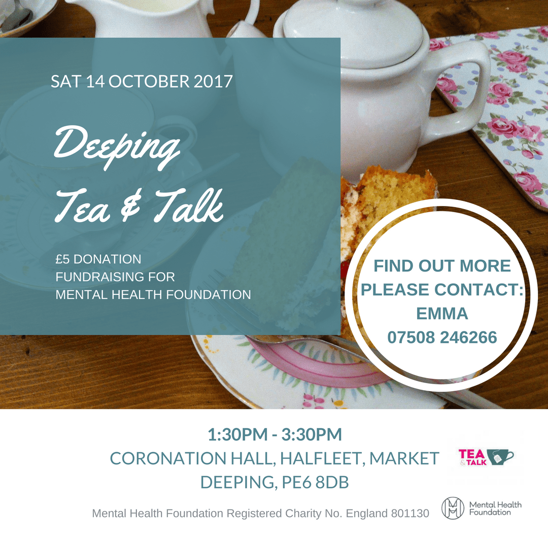 Deeping Tea and Talk - mental health fundraiser event Market Deeping